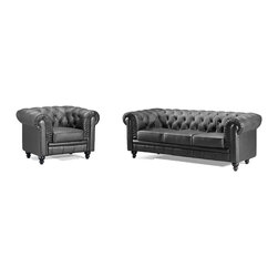 Contemporary, Modern Leather Upholstered Living Room Sofa Sets - ZUO 900110 ARISTOCRAT Modern Twist To Classic Look Black Button Tufted Wide Rolled Arm Sofa And Chair Set