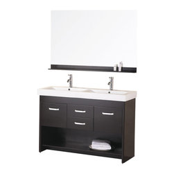 "Design Element - Citrus 48"" Double Sink Vanity Set in Espresso - The 48"" Citrus double-sink vanity is uniquely designed and constructed of quality woods. The robust edge brings a crisp clean contemporary look to any bathroom. The unique rolling and curved basin of the white rectangular double sinks beautifully contrasts with the sharp lines of the espresso cabinetry. This sophisticated vanity includes two center drawers and two soft-closing cabinet doors all adorned with satin nickel finish hardware. A large open storage shelf at the bottom provides additional storage. Included is a matching framed mirror with shelf. The Citrus Vanity is designed as a centerpiece to awe and inspire the eye without sacrificing quality functionality or durability."