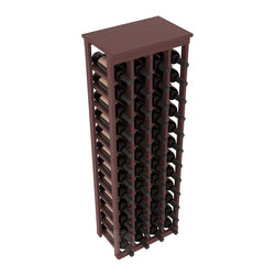 "48 Bottle Kitchen Wine Rack in Pine with Walnut Stain + Satin Finish - Store 4 complete cases of wine in less than 20"" of wall space. Just over 4 feet tall, this narrow wine rack fits perfectly in hallways, closets and other ""catch-all"" spaces in your home or den. The solid wood top serves as a shelf or table top for added convenience and storage of nick-nacks."