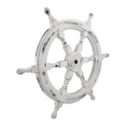 Nautical Whitewashed Wooden Ship`s Wheel 24 In. - This wooden ship`s wheel complements beach themed or nautical decor in your home, office, restaurant, or bar. It measures 24 inches in diameter, 1 1/2 inches thick, and has a distressed, whitewashed finish. It adds a wonderful accent to porches or patios, and makes a great gift for sailing enthusiasts.