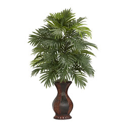 Nearly Natural - Areca Palm with Urn Silk Plant - This is a floral display that definitely calls attention to itself. Standing at an impressive 37' tall, this multi-leveled plant showcases an impressive amount of foliage, yet takes almost no upkeep at all to ensure a plant that will stay beautiful for years to come. The decorative two-toned urn will also attract due compliments, and fit as a lovely centerpiece for your next dinner occasion.