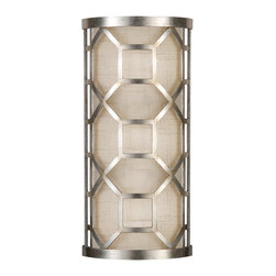 Fine Art Lamps - Allegretto Silver Sconce, 816850GU - Burnished gold or platinized silver adds a touch of luster to this wall sconce's classic midcentury styling. A white textured linen shade softens the light and lets the lacy grillwork shine.