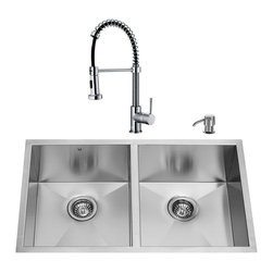 """VIGO Industries - VIGO All in One 32-inch Undermount Stainless Steel Double Bowl Kitchen Sink and - Breathe new life into your kitchen with a VIGO All in One Kitchen Set featuring a 32"""" Undermount kitchen sink, faucet, soap dispenser, two matching bottom grids and two sink strainers."""