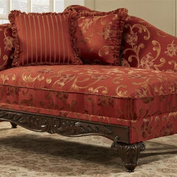 Chelsea Home - Traditional Chaise with Toss Pillows - Fringe, contrasting striped pattern pillows. Subdued paisley pattern. Sara port fabric over high-density cover. Seating comfort: Medium. Plush, rolled arms. Attached back and Dacron wrapped foam seat cushions. Zippered cushions. 8.5 gauge medium loop sinuous springs spaced 5 in. apart. 1.8 density foam with 0.75 of fiber wrapping. Ornately carved wood trim. Fabric contains: 100% polyester. Made from mixed hardwoods and plywood. Made in USA. No assembly required. Seat: 46 in. L x 25.5 in. W x 22 in. H. Overall: 65 in. L x 32 in. W x 36 in. H (85 lbs.)The Chelsea Home Furniture Cecelia Collections brings sense of Victorian elegance to any living room area. This beautiful set, by Chelsea Home Furniture, epitomizes Chelseas legendary reputation for quality and comfort.