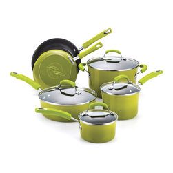 Rachael Ray - Rachael Ray Porcelain II Green 10-piece Cookware Set - The Rachael Ray 10-piece cookware set features all the tools you need to make quick and easy home-cooked meals. This green enamel-coated set makes a great present for newly-weds or housewarming gift for someone just leaving the nest.
