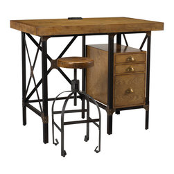 Kathy Kuo Home - Lucien Industrial Loft Brown Oak Standing Desk with Stool - Creativity will flow freely whether you stand or sit at this versatile, Industrial Loft desk. Crafted from oak and metal, this handsome desk is the ideal height for standing while working. Three drawers provide storage space for supplies and hanging folders. When you're ready for a seat, pull up the perfectly proportioned stool and press on.