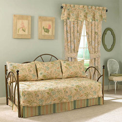 Waverly - Cape Coral Five-Piece Daybed Quilt Set - - Transform your bedroom with classically elegant bedding by Waverly�. The Waverly Cape Coral 5pc daybed set is crafted of 100% pre-washed cotton and specially woven for super soft hand. Beautiful vintage style, nature inspired vine with florals design comes to life in soothing hues of spa blue, dusty turquoise, sweet pea green and golden yellow on a nectar peach ground with a complimentary alternating stripe reverse. Quilt and pillow shams are embellished with a 2-Inch coordinating flange with stack-pleated corners for added style  - 5 piece set includes a 105-Inch x 54-Inch daybed quilt, one tailored bed skirt and three 21-Inch x 26-Inch standard pillow shams  - Machine washable, washed cold, gentle cycle Waverly - 13737105X054CRL