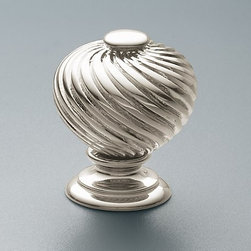 Pirouette Knob - Add a touch of elegance to your kitchen with this knob. We would generally mix this with a variety of other knobs and pulls, this would work well on a stand alone 'furniture' style piece in the kitchen, like a hutch or perhaps in an elegant butlers pantry.
