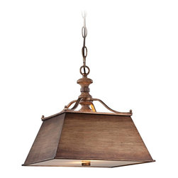 """Minka Lavery - Iron Abbott Place 14"""" Wide Pendant Light - Use this two light pendant chandelier to illuminate your kitchen style. It features a square-sided shade done in a classic Oak finish patina. A Driftwood glass diffuser at the bottom of the shade softens the light throw. From the Abbott Place collection by Minka Lavery lighting. Takes two 100 watt bulbs (not included). 14"""" wide. 14"""" high.  Abbot Place pendant light.  By Minka Lavery.  Oak finish patina.  Driftwood glass diffuser.  Takes two 100 watt bulbs (not included).   14"""" wide.   14"""" high."""
