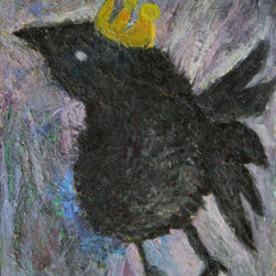 """The Crow King (Original) by Melissa Bee - Extreme texture original pallet knife oil painting """"The Crow King"""". Crafted with blacks, grays, violets, blues and a gold crown, he is always lost in his thoughts, thinking of his next move. Unframed, however the sides of the painting are painted to match the rest of the painting so framing is not necessary. Wire to hang with in the back. Stretched canvas on wooden frame. With love, Melissa Bee"""