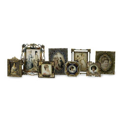 Imax Worldwide Home - Jeweled Frames - Set of 8 - Set of eight vintage styled jeweled frames in various sizes. Frames. 4.25-7.25 in. H x 4-13.5 in. W. 98% Alloy, 2% Acrylic And Glaze