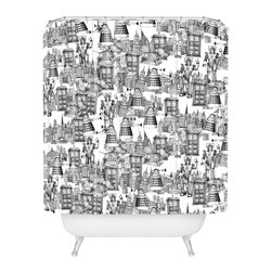 DENY Designs - Sharon Turner Walking Doodle Toile De Jouy Shower Curtain - Enough with the flowers and fish; is it too much to ask for a shower curtain with a little imaginative quirkiness? Try this one, printed with a fun, contemporary graphic from Sharon Turner. Her whimsical take on the toile tradition is a retro-futuristic urban montage of robots and flying machines, sketched out like a daydreamer's notepad doodle.