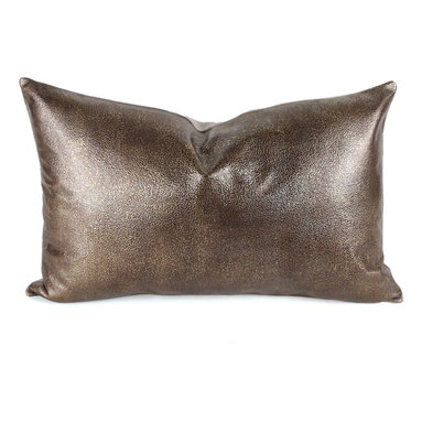 Pfeifer Studio - Metallic Leather Pillow - Our elegant metallic leather pillows are naturally modern. The subtle metallic pattern on the leather is contrasted with a natural linen back. Each closes with a hidden garment zipper and is fitted with a medium-fill feather and down inner. Our pillows are each individually handmade-to-order using natural materials, each is considered unique and one-of-a-kind.