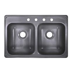 """Lyons Industries - Kitchen Sink, Timeless Elegance Dual Bowl Acrylic 10"""" Deep, Metallic Silver - Lyons Industries Designer Timeless Elegance Metallic Silver acrylic self-rimming kitchen sink with two deep sink bowls. This 33""""X22"""" sink has an attractive sleek design, two 10"""" deep equal size large bowls. This sturdy sink has durable easy to clean high gloss acrylic construction with a fiberglass reinforced insulation backer. This sink is quiet and provides a superior heat retention than other sink materials meaning your dish water stays warm longer. Lyons sinks come with a simple mounting tab and clip system to firmly fasten the sink to the countertop and reinforced drain areas for safely supporting a garbage disposal. Detailed installation instructions include the cut-out specifications. Lyons sinks are proudly made in America by experienced artisans supporting our economy."""