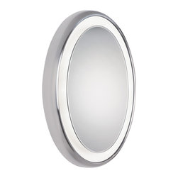 Tigris Oval Mirror by Tech Lighting - Oval mirror surrounded by a cove of diffused white light.