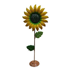 Alpine - Metal Sunflower Garden Decor - Medium - Add Life and color to any garden with our Metal Sunflower garden decoration.Features: