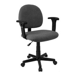 Flash Furniture - Rolling Ergonomic Computer Chair w Adjustable - At a computer workstation or desk, adjustable task chairs offer the ultimate in convenience. With their low profiles and caster bases, they're responsive to every movement. Molded plastic arms and ergonomic shaping add comfort when you're seated all day long. One of the best task chair / computer chair values on the Internet. Ergonomically correct, this chair is both comfortable and well priced to satisfy the needs of most computer users. Grey Fabric over thick, contoured seat and back. Height adjustable arms. Polyurethane padded arm rests. Depth adjustable back. Pneumatic seat height adjustment. Heavy duty nylon base. Dual wheel carpet casters. Seat: 20 in. W x 17½ in. D. Back: 17½ in. W x 16½ in. H. Seat Height: 17 in. - 21½ in. H. Arm Height: 8½ in. - 11½ in. H (from Seat); 25½ in. - 32½ in. H (from Floor). Overall: 25 in. W x 22½ in. D x 33 in. - 37½ in. H
