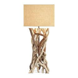 "IMAX - Explorer Drift Wood Table Lamp - The Explorer table lamp features a base made from natural driftwood and a rectangular jute shade. This versatile style and look adapts well to a variety of decor. Item Dimensions: (33.25""h x 14.25""w x 14.25"")"