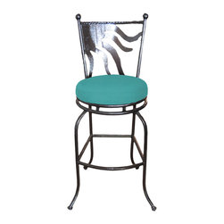 "Surf Side Patio - Cozumel Swivel Bar stool, Aruba, 24"" Counter Height - Accent your breakfast bar, home bar, tiki bar or patio with the hand crafted, wrought iron Cozumel Swivel Bar stool.  Made from thick guage, powder coated wrought iron, these gorgeous bar stools swivel 360 degrees and bring a tropical touch to any area of your home, indoor or outdoor."