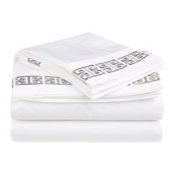 Kendell Full Sheet Set Cotton - White/Grey - Each Kendell Sheet set comes with a special Greek-style embroidery.