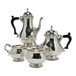 Barker Ellis on base - Consigned Silver Plated Coffee and Tea Set by Barker Ellis, Vintage English - Classical silver plated tea and coffee set with a teapot, coffee pot, sugar bowl and creamer with gadrooned bands by Barker Ellis; vintage English, mid 20th century.