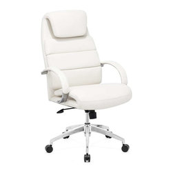 Zuo Modern - Zuo Modern Lider Comfort Office Chair, White - This chair has a leatherette wrapped seat and back cushions with chrome solid steel arms with leatherette pads. There is a height and tilt adjustment with a chrome steel rolling base.
