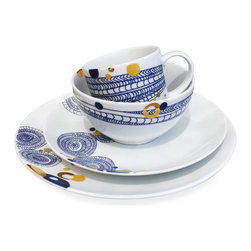 "Ink Dish - Basket 16-Piece Dinnerware Set by Dana Oldfather - The ""Basket"" pattern on this dinnerware set feels sophisticated and offbeat all at once. You can't help but appreciate a little eye-catching gold, yet it's tempered nicely by the deep blue lines and swirls."