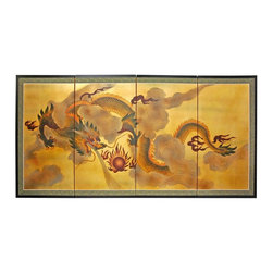 "Oriental Furniture - 36"" Dragon in the Sky on Gold Leaf - Evoke images of the Orient with this soft and beautiful, hand-painted gold leaf rendition of a dragon in the sky. Note that no two renderings are exactly the same."