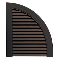 """Builders Edge - Louvered Design Quarter Round Tops in Musket - Provides distinctive styling for standard shutters. Constructed with color molded-through vinyl so they will not scratch, flake, or fade. Durable, maintenance-free U.V. stabilized, deep wood grain texture. Made in the USA. For use with Builders Edge 15"""" Standard Louver Shutters only. 14.5 in. W x 1 in. D x 17 in. H (1.69 lbs.)"""