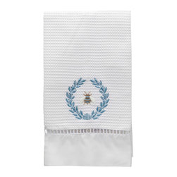 Jacaranda Living - Waffle Weave Guest Towel, Napoleon Bee Wreath Duck Egg Blue - Waffle Weave Guest Towel trimmed with ladder lace and cotton percale, embroidered with the Napoleon Bee Wreath in duck egg blue. Made by Zulu women in South Africa.