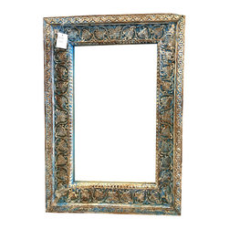 Carved Wood Square Mirror Frame w Mirror Indian Furniture $389 - http://www.mogulinterior.com/hand-carved-square-mirror-frame-with-mirror-indian-wooden-furniture.html