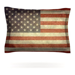 "Kess InHouse - Bruce Stanfield ""Flag of US Retro"" Rustic Pillow Sham (Cotton, 30"" x 20"") - Pairing your already chic duvet cover with playful pillow shams is the perfect way to tie your bedroom together. There are endless possibilities to feed your artistic palette with these imaginative pillow shams. It will looks so elegant you won't want ruin the masterpiece you have created when you go to bed. Not only are these pillow shams nice to look at they are also made from a high quality cotton blend. They are so soft that they will elevate your sleep up to level that is beyond Cloud 9. We always print our goods with the highest quality printing process in order to maintain the integrity of the art that you are adeptly displaying. This means that you won't have to worry about your art fading or your sham loosing it's freshness."