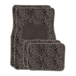 None - Tan Cheetah Front and Rear Carpet Car Floor Mats - Floor mats feature a bright, fun designMats boast anti-fading coloring and non-skid backingProtect against spill, stains, dirt and any debris with these stylish mats