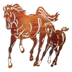 Lazart - Mare & Foal 32-inch Western Metal Wall Art by Kathryn Darling - With  a  grace  and  beauty  that  captures  your  heart,  this  western  metal  wall  art  is  a  great  gift  for  western  horse  fans  and  equestrian  enthusiasts  alike.  As  if  frozen  in  time,  this  mare  and  foal  romp  side  by  side  in  pure  joy  and  freedom.  Designed  by  Kathryn  Darling  and  precision  laser  cut  from  steel,  this  western  metal  art  is  finely  detailed  to  show  flowing  manes,  galloping  hooves  and  rippling  muscles.  A  glowing  honey  pinion  finish  completes  this  metal  wall  art  with  a  deep  sheen  of  warm  color  that  will  warm  your  western  room  when  you  order  now.            See  more  western  metal  art.                  A  masterful  nature  design  by  Kathryn  Darling              Makes  a  great  focal  point  over  fireplace  or  above  sofa