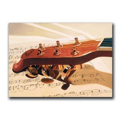 "Six Strings 20x30 Print - ""Six Strings"" is a canvas giclee depicting a string instrument and sheet music by Denard Stalling.  This 20x30 canvas is gallery wrapped . We take the fine art canvas and stretch it over a wooden frame, adhering the canvas to the backside of the frame. The canvas actually wraps around the edges of the frame, giving your print the look of a fine piece of art, such as you might find in an art gallery. There is no need for a picture frame. Your piece of art is ready to hang or lean against a wall, or display on an easel."