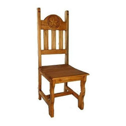 Million Dollar Rustic - Wooden Side Chair - Set of 2 - Set of 2. Standard wooden seat chair with texas carved star. Warranty: One year. Made from white pine. 17 in. W x 18 in. D x 45 in. H (15 lbs.)