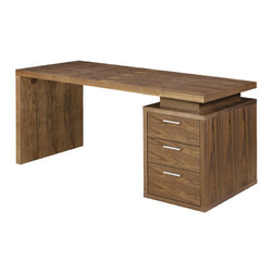 """Nuevo Living - Benjamin Office Desk, Walnut - Put the """"Oh!"""" in organized with this sleek platform desk. With three ample-sized drawers in your choice of a handsome light or dark walnut finish, you finally have a stylish new desk for your laptop — and no more excuses for getting started on those plans to sort out the study."""