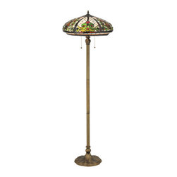"""Meyda Tiffany - 60""""H Barroco Floor Lamp - This classic, Tiffany-styled Barroco copper foil shade features graceful scrolls of streaked Moss Green toned glass and accents of Scarlet Red glass on a Bone Beige background framed with Brown trim. A metal beaded band circles the edge of the unique recurved skirt of this elegant piece. The stained glass shade is handcrafted using Louis Comfort Tiffany's world famous copper foil construction process.  This stunning Art Nouveau shade is complemented with a floor base hand finished in a warm Antique Brass.  Ideal for ambient, accent and decorative lighting in fine homes, restaurants, hotels and retail and commercial settings. Energy efficient lamping options.  UL listed."""