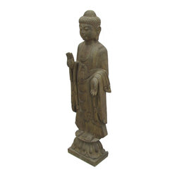 Golden Lotus - Standing Buddha Statue Chinese Stone Hand Carving - Look at this Chinese standing Buddha statue which is made of stone.  It should be perfect to decorate your garden.