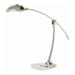 Arteriors - Putnam Desk Lamp - Swing some light into your favorite modern setting with this silver-finished desk lamp. You can see the art deco inspiration in the elegant lines, yet the graceful adjustable arm marks an up-to-the-minute upgrade.