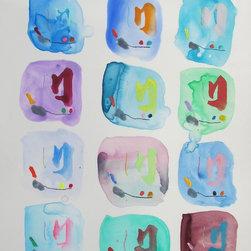 "Mineko Yoshida - 'Joie de Vivre No. 21' Abstract Painting by Mineko Yoshida - Abstract acrylic painting on yupo paper by Okinawan-born, American-educated artist Mineko Yoshida.  14""x11""  Unframed.  Influenced by Japanese calligraphy and American Abstract Expressionism."