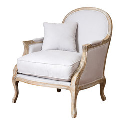 Great Deal Furniture - Lennon Weathered Hardwood Fabric Arm Chair - The Lennon weathered hardwood arm chair features an old-world style with modern comfort. It is upholstered in natural beige colored fabric and features decorative hand carved weathered oak wood trim. It also includes a matching throw pillow for extra comfort. Its wide stance gives you plenty of room to relax and enjoy a chat or even a book.