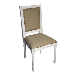 Noir - Noir - Regency Side Chair, White Wash - White Washed Mahogany Wood, with Olive Cotton