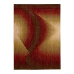 "Nourison - Nourison Radiant Arts RA04 3'6"" x 5'6"" Ruby Area Rug 39612 - Fan the flames of drama with this dreamy contemporary rug that glimmers and flickers in passionate shades of ruby and opal to create an abstract moody firelight effect."