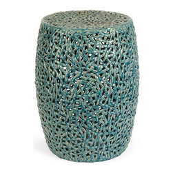 IMAX Worldwide Home - Tobias Cutwork Garden Stool - Material: 100% Ceramic. 20 in. H x 14.75 in. D. Weight: 19.2 lbs.The Tobias cutwork garden stool is skillfully handcrafted from ceramic and finished in a turquoise glaze.