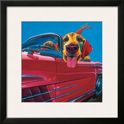Artcom - Dog About Town by Ron Burns - Dog About Town by Ron Burns is a Framed Art Print set with a SOHO Black wood frame and a Polar White mat.