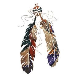 """Lazart - Two Feather Southwest Rustic Metal Wall Art 18"""" - Two  Feather  Southwest  Rustic  Metal  Wall  Art  -  18          Reminiscent  of  Native  American  hair  ornaments  and  personal  talismans,  this  2  feather  laser  cut  wall  art  has  a  fascinating  fusion  finish.  Multicolor  elements  are  drawn  from  the  metal  through  a  special  heat  transfer  process  that  leaves  the  natural  metal  finish  imbued  with  mysterious  color  shifts  and  rainbow  tones.  Measuring  18H,  this  unique  metal  art  decor  accessory  is  perfect  for  rustic  western  themes."""