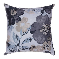 Cortesi Home - Oppy Blue Accent Pillow - The Oppy Blue pillow in a soft velveteen fabric also features navy and taupe colors in its flower design. Pillow cover is washable and features a hidden zipper. Inside, the pillow fill is overstuffed for added comfort and durability. Quantity of 1.