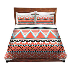 DiaNoche Designs - Duvet Cover Microfiber by Organic Saturation - Coral Tribal - Super lightweight and extremely soft Premium Microfiber Duvet Cover in sizes Twin, Queen, King.  This duvet is designed to wash upon arrival for maximum softness.   Each duvet starts by looming the fabric and cutting to the size ordered.  The Image is printed and your Duvet Cover is meticulously sewn together with ties in each corner and a hidden zip closure.  All in the USA!!  Poly top with a Cotton Poly underside.  Dye Sublimation printing permanently adheres the ink to the material for long life and durability. Printed top, cream colored bottom, Machine Washable, Product may vary slightly from image.
