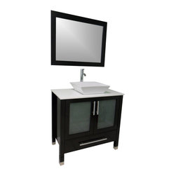 Modern Bathroom Vanity with White Basin - Cabinet is made out of  Pure Oak Wood